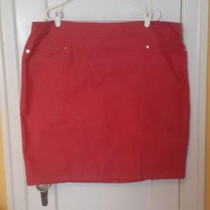 Red stretch denim pencil skirt